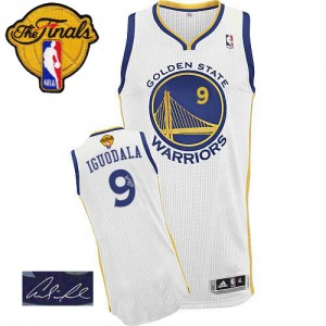 Golden State Warriors Andre Iguodala #9 Home Autographed 2015 The Finals Patch Authentic Maillot d'équipe de NBA - Blanc pour Homme