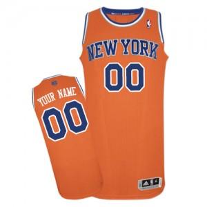 New York Knicks Personnalisé Adidas Alternate Orange Maillot d'équipe de NBA Remise - Authentic pour Homme