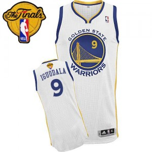Golden State Warriors #9 Adidas Home 2015 The Finals Patch Blanc Authentic Maillot d'équipe de NBA la vente - Andre Iguodala pour Homme