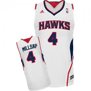 Maillot NBA Blanc Paul Millsap #4 Atlanta Hawks Home Swingman Homme Adidas