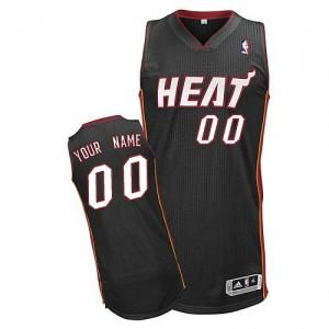 Miami Heat Personnalisé Adidas Road Noir Maillot d'équipe de NBA Discount - Authentic pour Homme