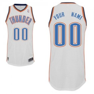 Maillot NBA Blanc Authentic Personnalisé Oklahoma City Thunder Home Enfants Adidas