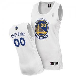 Maillot NBA Blanc Authentic Personnalisé Golden State Warriors Home Femme Adidas