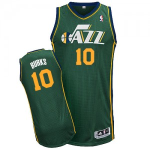 Maillot NBA Vert Alec Burks #10 Utah Jazz Alternate Authentic Homme Adidas