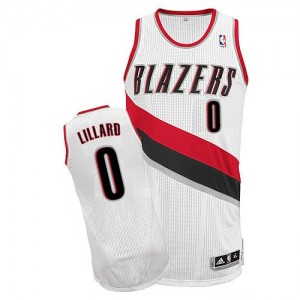 Maillot NBA Blanc Damian Lillard #0 Portland Trail Blazers Home Authentic Homme Adidas