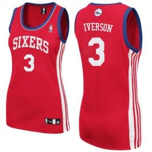 Maillot Adidas Rouge Road Authentic Philadelphia 76ers - Allen Iverson #3 - Femme