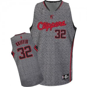 Maillot Adidas Gris Static Fashion Authentic Los Angeles Clippers - Blake Griffin #32 - Homme