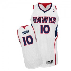 Maillot Adidas Blanc Home Authentic Atlanta Hawks - Mike Bibby #10 - Homme
