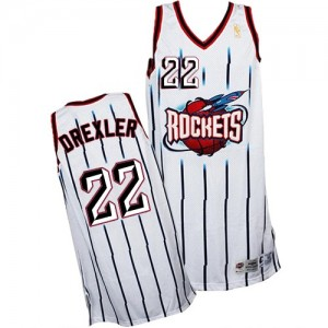 Houston Rockets #22 Adidas Throwback Blanc Swingman Maillot d'équipe de NBA pas cher - Clyde Drexler pour Homme