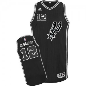 Maillot NBA San Antonio Spurs #12 LaMarcus Aldridge Noir Adidas Swingman New Road - Homme