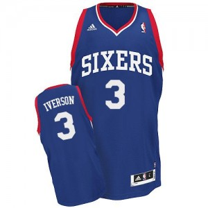 Maillot NBA Philadelphia 76ers #3 Allen Iverson Bleu royal Adidas Swingman Alternate - Homme