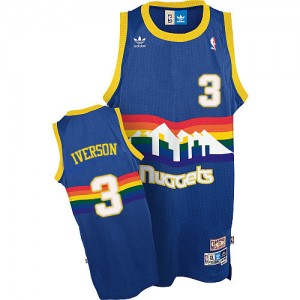 Maillot Swingman Denver Nuggets NBA Throwback Bleu clair - #3 Allen Iverson - Homme