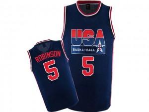 Maillot NBA Team USA #5 David Robinson Bleu marin Nike Authentic 2012 Olympic Retro - Homme