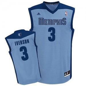 Memphis Grizzlies #3 Adidas Alternate Bleu clair Swingman Maillot d'équipe de NBA pour pas cher - Allen Iverson pour Homme