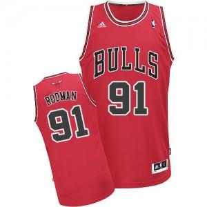 Maillot NBA Swingman Dennis Rodman #91 Chicago Bulls Road Rouge - Homme