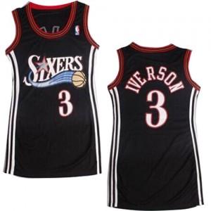 Maillot NBA Philadelphia 76ers #3 Allen Iverson Noir Adidas Authentic Dress - Femme