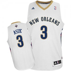 Maillot Authentic New Orleans Pelicans NBA Home Blanc - #3 Omer Asik - Homme