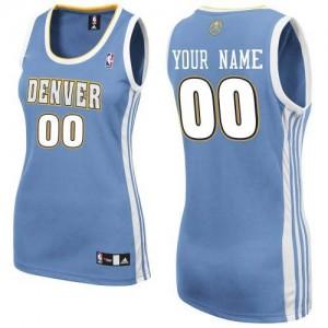 Denver Nuggets Personnalisé Adidas Road Bleu clair Maillot d'équipe de NBA en ligne - Authentic pour Femme