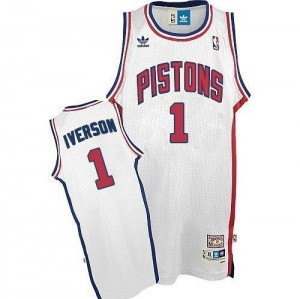 Maillot NBA Authentic Allen Iverson #1 Detroit Pistons Throwback Blanc - Homme