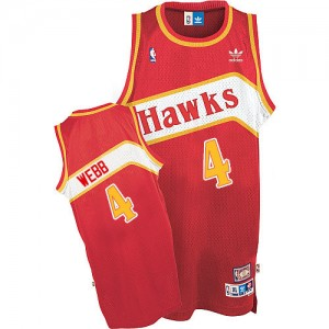 Maillot Adidas Rouge Throwback Authentic Atlanta Hawks - Spud Webb #4 - Homme
