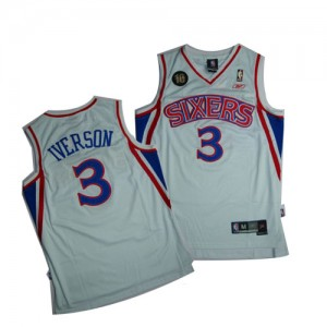 Maillot NBA Authentic Allen Iverson #3 Philadelphia 76ers 10TH Throwback Blanc - Homme