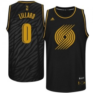 Maillot NBA Noir Damian Lillard #0 Portland Trail Blazers Precious Metals Fashion Authentic Homme Adidas