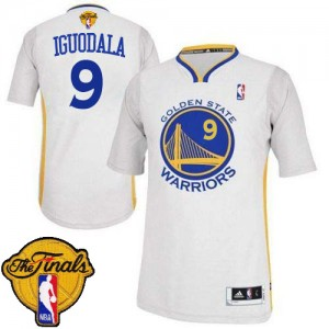 Maillot NBA Blanc Andre Iguodala #9 Golden State Warriors Alternate 2015 The Finals Patch Authentic Homme Adidas