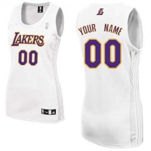 Los Angeles Lakers Authentic Personnalisé Alternate Maillot d'équipe de NBA - Blanc pour Femme