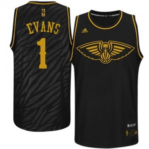Maillot Adidas Noir Precious Metals Fashion Authentic New Orleans Pelicans - Tyreke Evans #1 - Homme