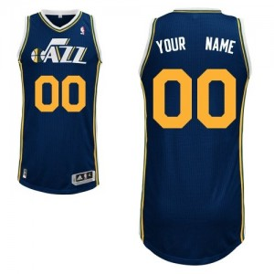Maillot NBA Bleu marin Authentic Personnalisé Utah Jazz Road Homme Adidas