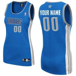 Maillot Adidas Bleu royal Road Dallas Mavericks - Authentic Personnalisé - Femme