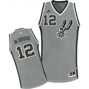 San Antonio Spurs #12 Adidas Alternate Gris argenté Swingman Maillot d'équipe de NBA Braderie - LaMarcus Aldridge pour Enfants