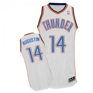 Maillot NBA Oklahoma City Thunder #14 D.J. Augustin Blanc Adidas Authentic Home - Homme