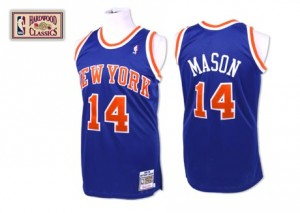 Maillot Mitchell and Ness Bleu royal Throwback Authentic New York Knicks - Anthony Mason #14 - Homme