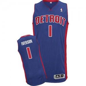 Maillot Authentic Detroit Pistons NBA Road Bleu royal - #1 Allen Iverson - Homme