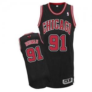Chicago Bulls #91 Adidas Alternate Noir Authentic Maillot d'équipe de NBA en ligne - Dennis Rodman pour Homme