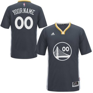 Maillot NBA Noir Authentic Personnalisé Golden State Warriors Alternate Enfants Adidas
