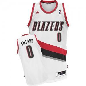 Portland Trail Blazers #0 Adidas Home Blanc Swingman Maillot d'équipe de NBA sortie magasin - Damian Lillard pour Homme