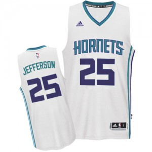 Maillot NBA Charlotte Hornets #25 Al Jefferson Blanc Adidas Authentic Home - Homme
