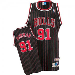 Maillot NBA Authentic Dennis Rodman #91 Chicago Bulls Throwback Noir Rouge - Homme