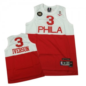 Maillot NBA Authentic Allen Iverson #3 Philadelphia 76ers 10TH Throwback Blanc Rouge - Homme