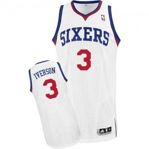 Maillot NBA Blanc Allen Iverson #3 Philadelphia 76ers Home Authentic Enfants Adidas