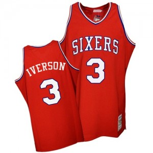 Maillot Authentic Philadelphia 76ers NBA Throwback Rouge - #3 Allen Iverson - Homme