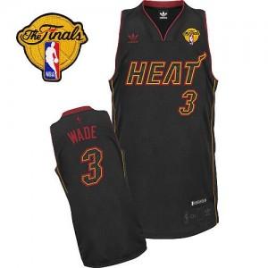 Maillot NBA Fibre de carbone noire Dwyane Wade #3 Miami Heat Fashion Finals Patch Swingman Homme Adidas