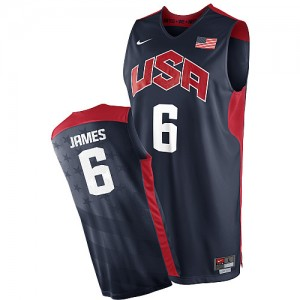 Maillots de basket Swingman Team USA NBA 2012 Olympics Bleu marin - #6 LeBron James - Homme
