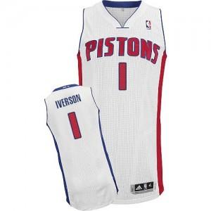 Maillot NBA Authentic Allen Iverson #1 Detroit Pistons Home Blanc - Homme