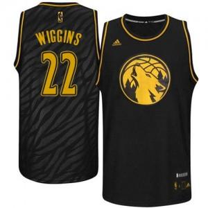 Maillot NBA Minnesota Timberwolves #22 Andrew Wiggins Noir Adidas Swingman Precious Metals Fashion - Homme