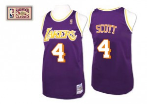 Maillot NBA Los Angeles Lakers #4 Byron Scott Violet Mitchell and Ness Swingman Throwback - Homme