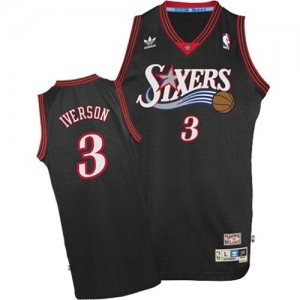 Maillot NBA Philadelphia 76ers #3 Allen Iverson Noir Adidas Authentic 1997-2009 Throwback - Homme