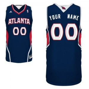 Maillot Adidas Bleu marin Road Atlanta Hawks - Swingman Personnalisé - Homme